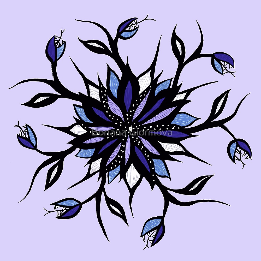 Weird flower mandala in violet and black with teeth in tattoo style