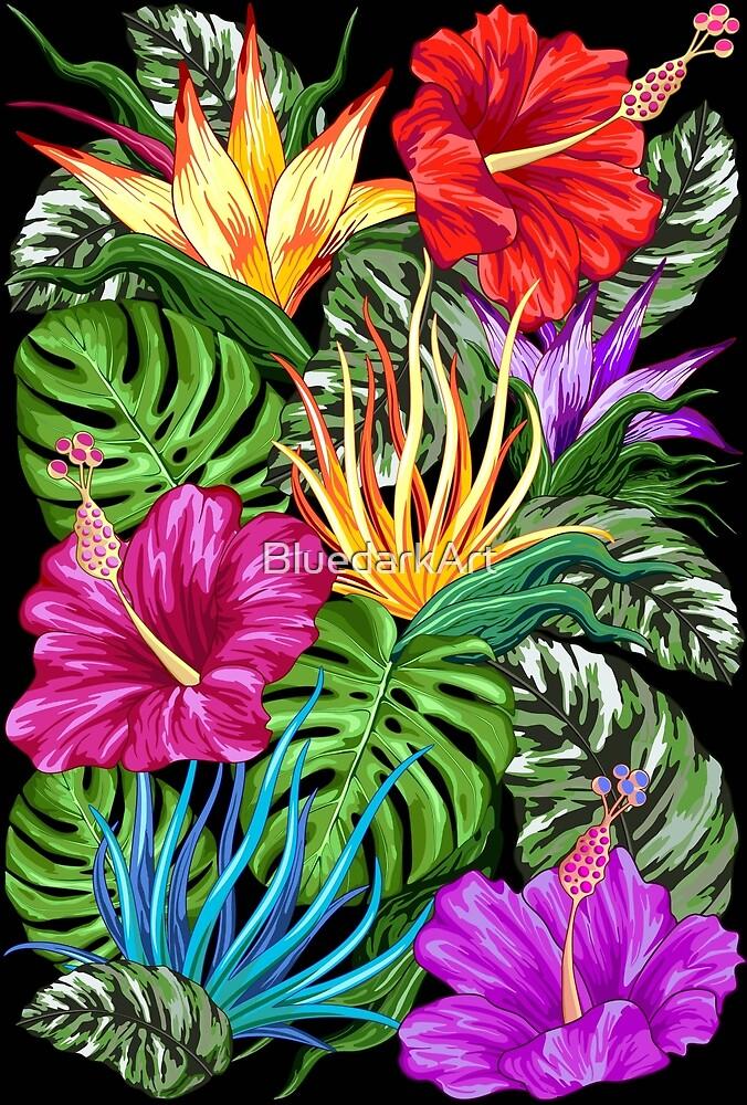 Tropical Flora Summer Mood Pattern by BluedarkArt