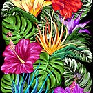 Tropical Flora Summer Mood Pattern by BluedarkArt