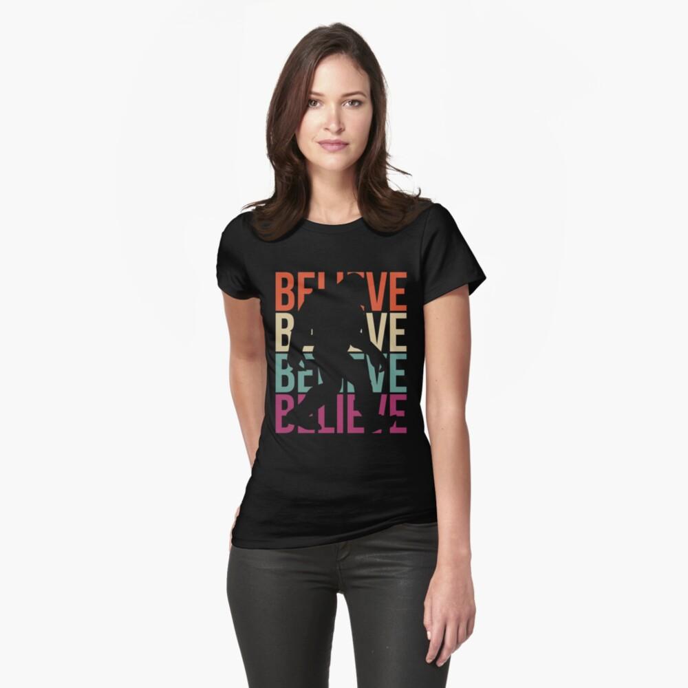 Bigfoot T-shirt I Believe Bigfoot Sasquatch Yeti Funny Shirt Fitted T-Shirt