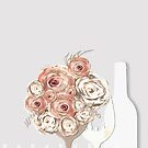 Wine and flowers beige by mjvision Mia Niemi by mjvisiondesign
