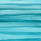 Teal Watercolor Lines Pattern by blueskywhimsy