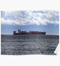 Container Ship off Cordova Bay Poster