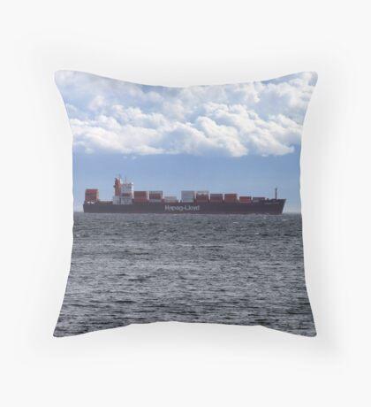 Container Ship off Cordova Bay Throw Pillow