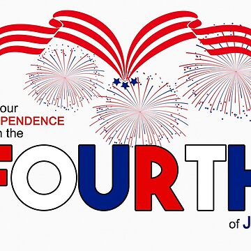 Fourth of July Red White and Blue Bold Typography by SalonOfArt