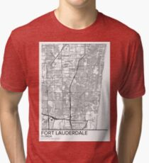 Fort Lauderdale map poster print wall art, Florida gift printable, Home and Nursery, Modern map decor for office, Map Art, Map Gifts Tri-blend T-Shirt