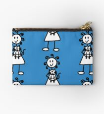 The Girl with the Curly Hair Holding Cat - Blue Studio Pouch