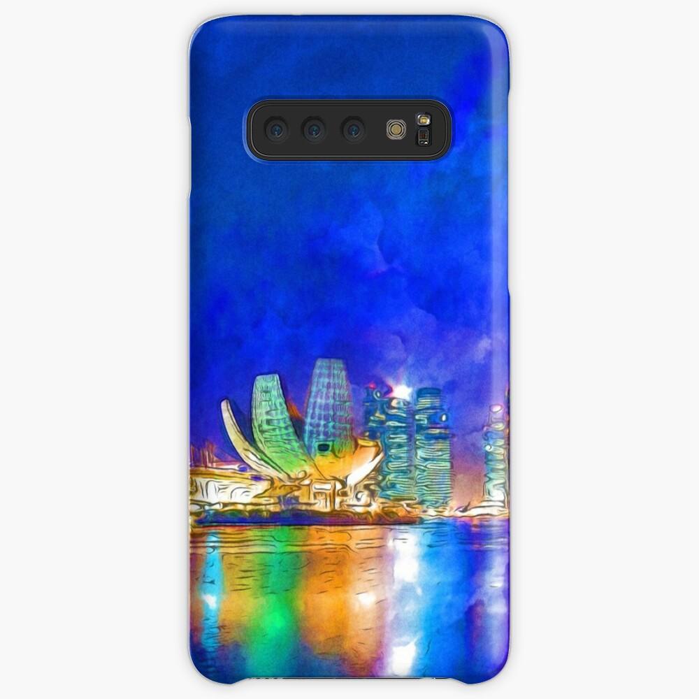 Nacht in Marina Bay | Singapur - lebendige Aquarellmalerei Hülle & Klebefolie für Samsung Galaxy