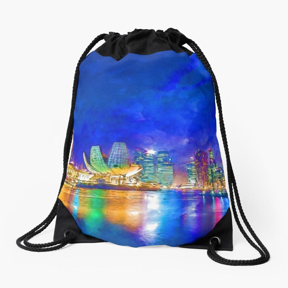 Nacht in der Marina Bay | Singapur - lebendige Aquarellmalerei Turnbeutel