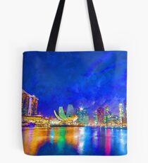 Nacht in der Marina Bay | Singapur - lebendige Aquarellmalerei Tote Bag