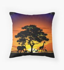 Wild Animals on African Savanna Sunset  Throw Pillow