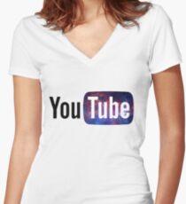 Cosmic YouTube Logo Women's Fitted V-Neck T-Shirt