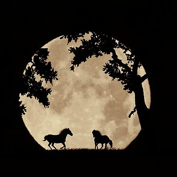 Two Horses in the Sepia Full Moon, Moon Struck Magic by LazyL
