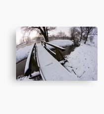 Winter by the river Canvas Print