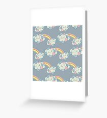 Vector seamless pattern with the clouds and rainbow Greeting Card
