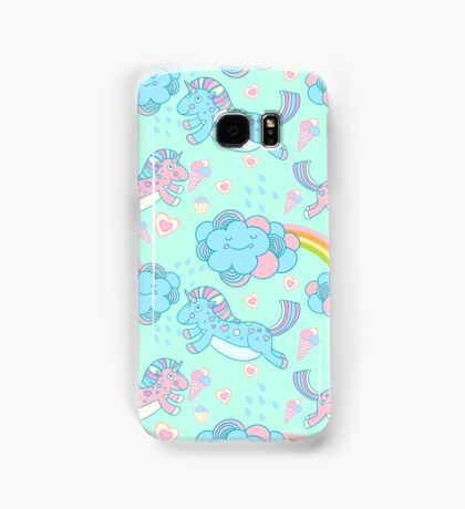 Vector seamless pattern with the unicorns, clouds and rainbow Samsung Galaxy Case/Skin