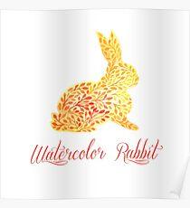 Patterned floral watercolor rabbit vector illustration Poster