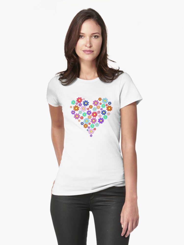 Heart flowers - white Womens T-Shirt Front