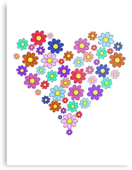 Heart flowers - white by Fiona Doyle