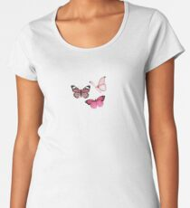Pink Butterfly stickers *aesthetic* Premium Scoop T-Shirt