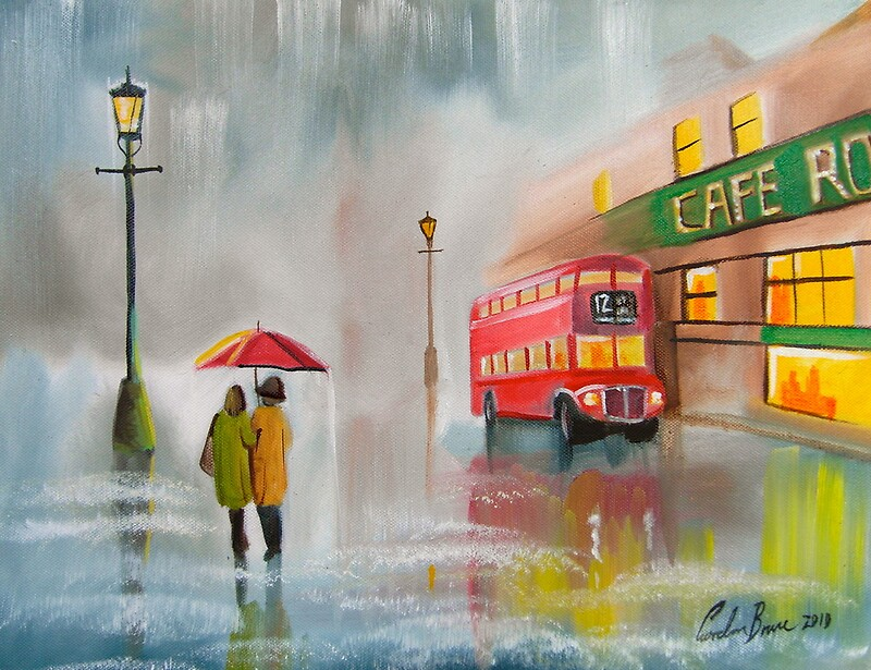 Quot Red Bus Umbrella Oil Painting By Gordon Bruce Quot By