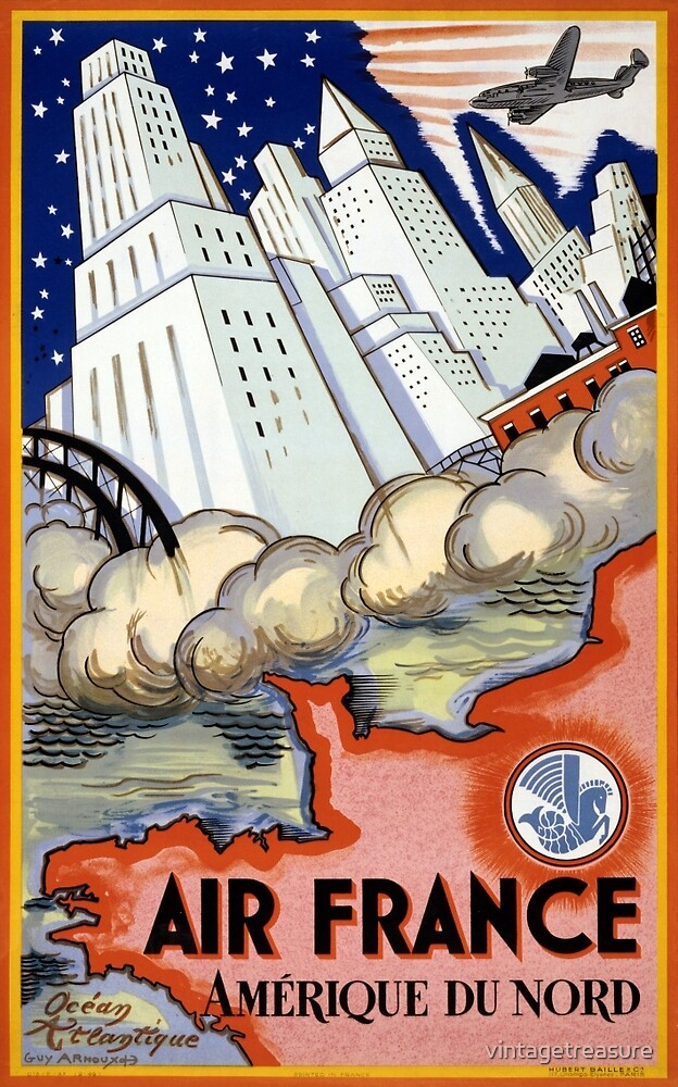 Air France USA Vintage Travel Poster Restored by vintagetreasure