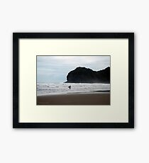 Piha Surfer Framed Print