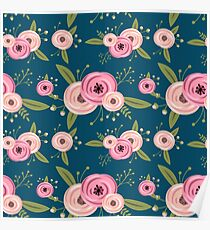 Vector seamless pattern with roses Poster