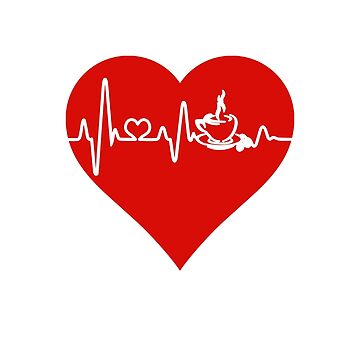 Caffeine Addict Coffee Mug Heartbeat Red Heart by 4Craig