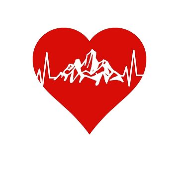 Mountain Lovers Heartbeat Red Heart by 4Craig