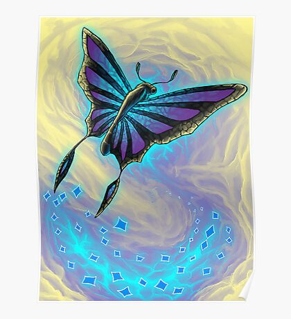 Butterfly with stained glass wings Poster