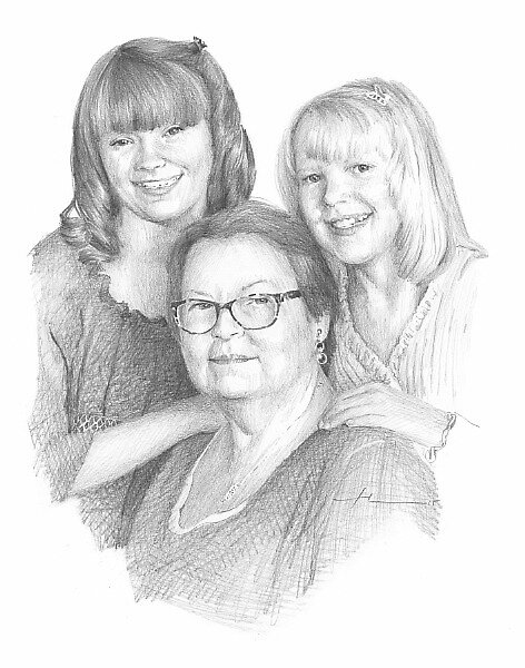 granddaughters & grandmother drawing by Mike Theuer