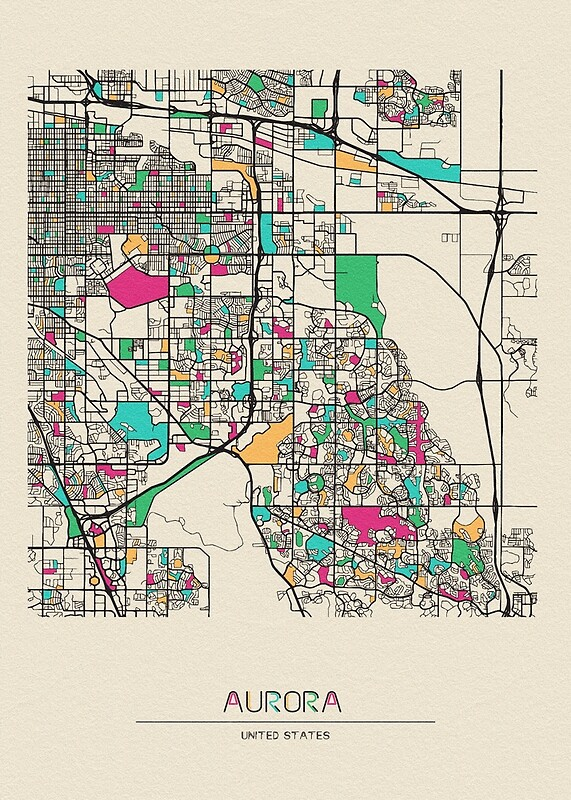 Aurora, Colorado Street Map | Art Print
