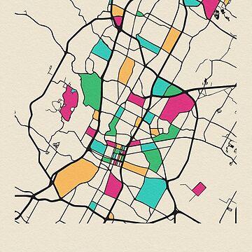 Austin, Texas Mapa de calles de geekmywall