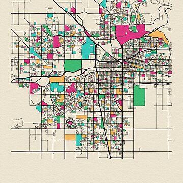 Mapa de calles de Bakersfield, California de geekmywall