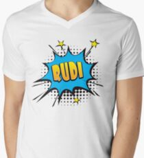 Comic book speech bubble font first name Rudi Men's V-Neck T-Shirt