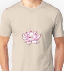 Pink Lotus Line Drawing Unisex T-Shirt