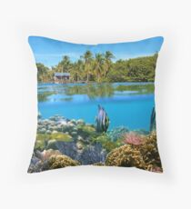 Over and underwater sea coral reef fish with tropical shore Throw Pillow