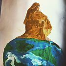 Jesus sitzt auf dem Kreis der Erde. MÄRZ MALEREI von Love Art Wonders by GOD