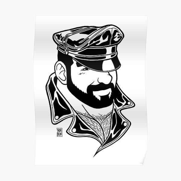 ADAM LIKES LEATHER - LINEART Poster