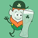 St Patrick's Day Leprechaun in love with glass of beer by Zoo-co