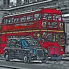 London Bus and Cab by bywhacky
