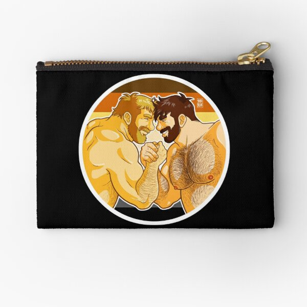 ADAM AND MIKE LIKE ARM WRESTLING BEAR PRIDE - CIRCLE Zipper Pouch