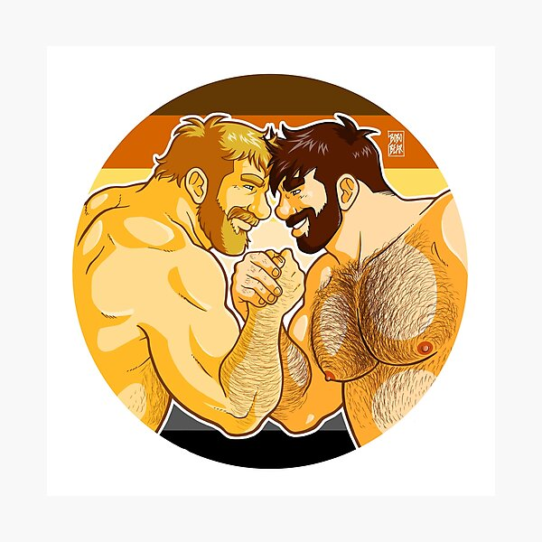 ADAM AND MIKE LIKE ARM WRESTLING BEAR PRIDE - CIRCLE Photographic Print
