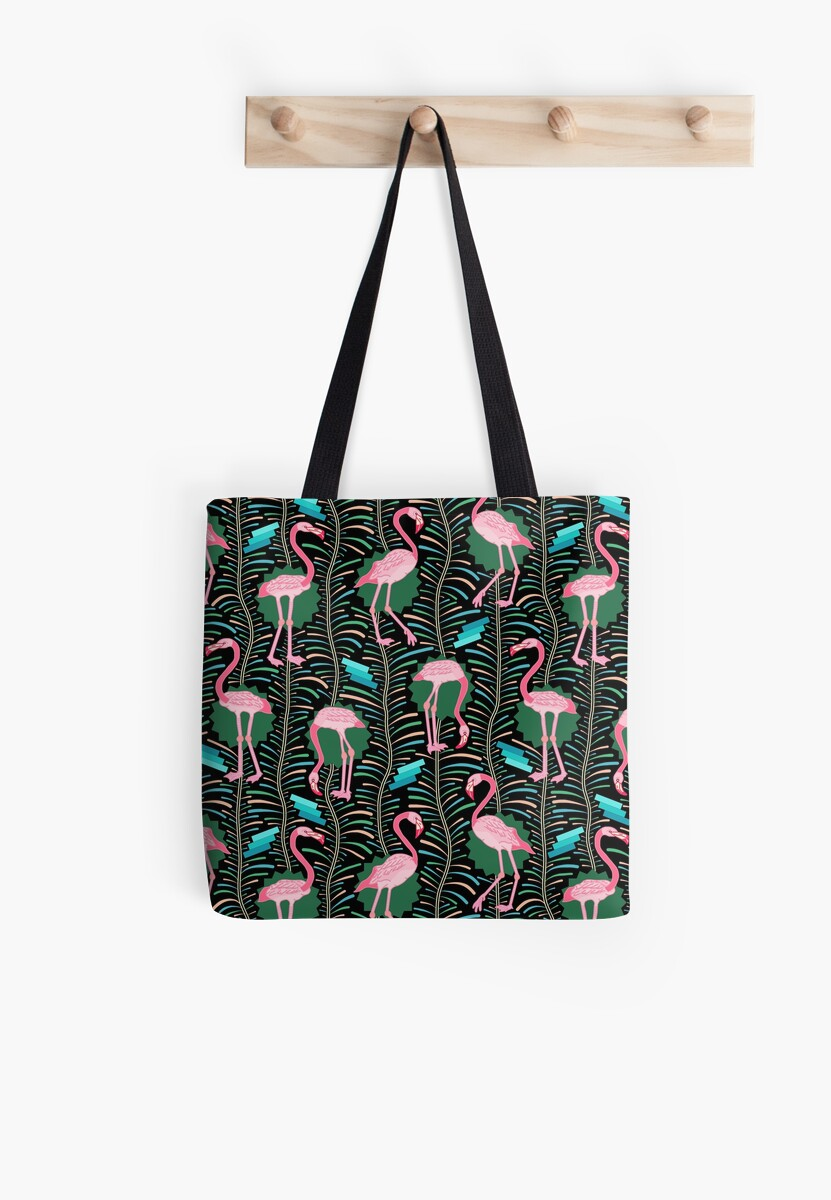 Pink Flamingo Birds 20s Art Deco with Ferns on Black by emkayhess