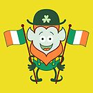 St Paddy's Day Leprechaun smiling and posing with Irish flags by Zoo-co