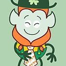 St Patrick's Day Leprechaun wearing an elegant clover tie by Zoo-co