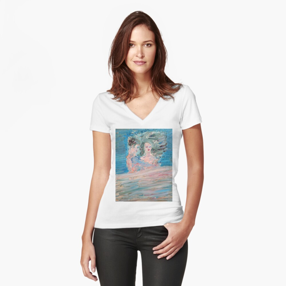 BED AND LOVERS Women's Fitted V-Neck T-Shirt Front