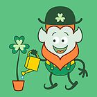 St Patrick's Day Leprechaun watering huge clover by Zoo-co
