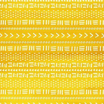 Patrón de rayas Boho amarillo de blueskywhimsy